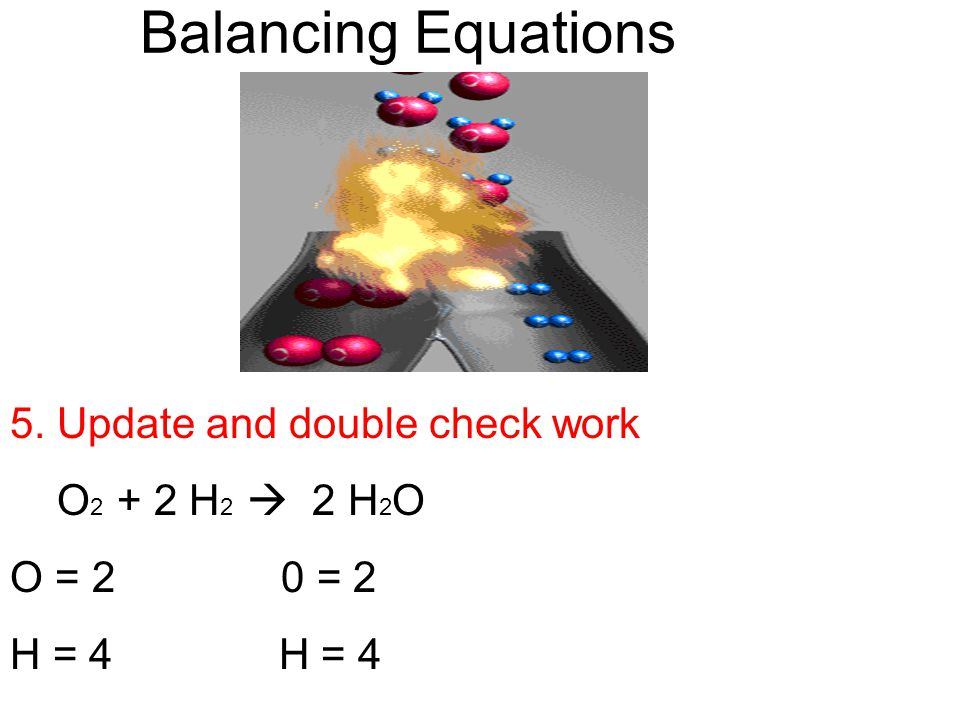 Balancing Equations 5. Update and double check work O2 + 2 H2  2 H2O