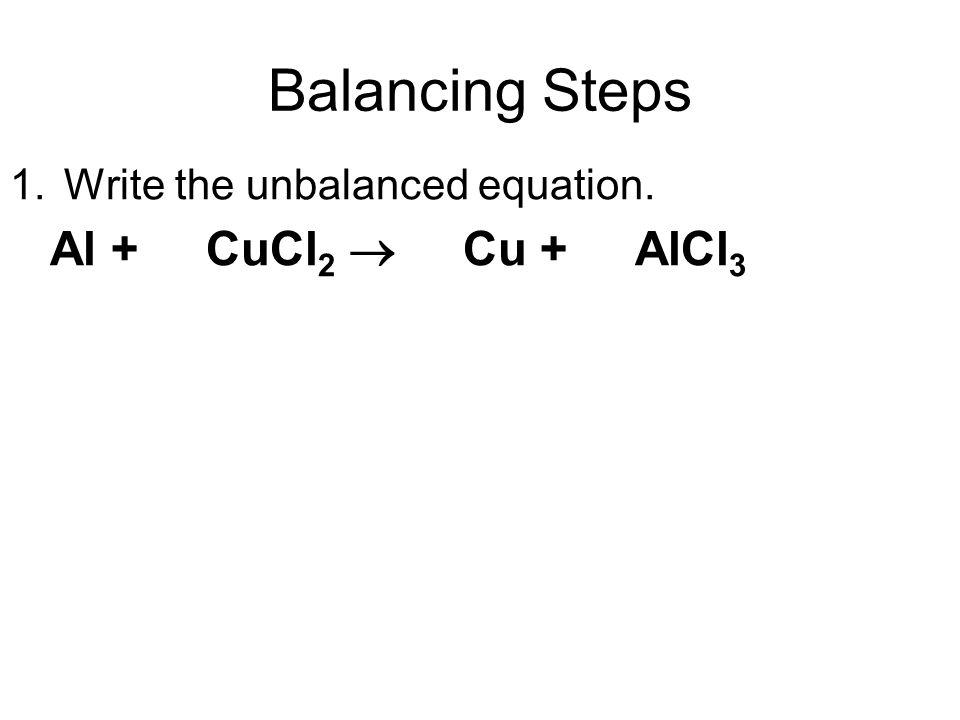 Balancing Steps Al + CuCl2  Cu + AlCl3