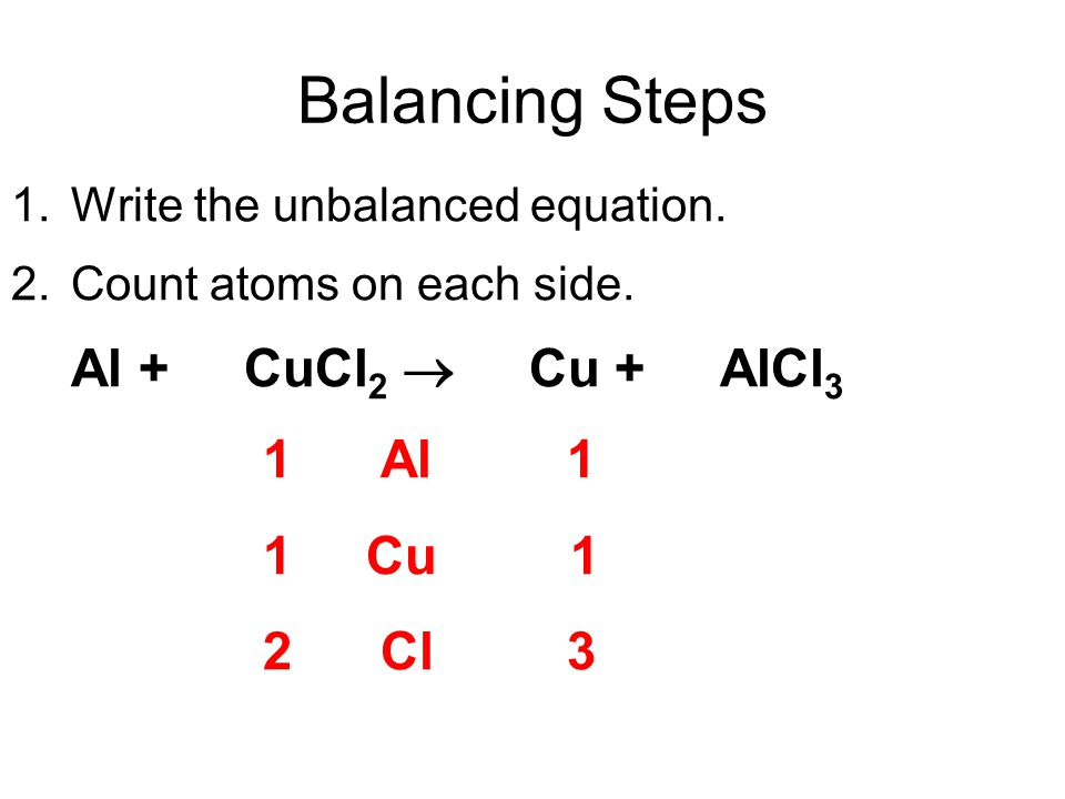 Balancing Steps 1 Al 1 1 Cu 1 2 Cl 3 1. Write the unbalanced equation.