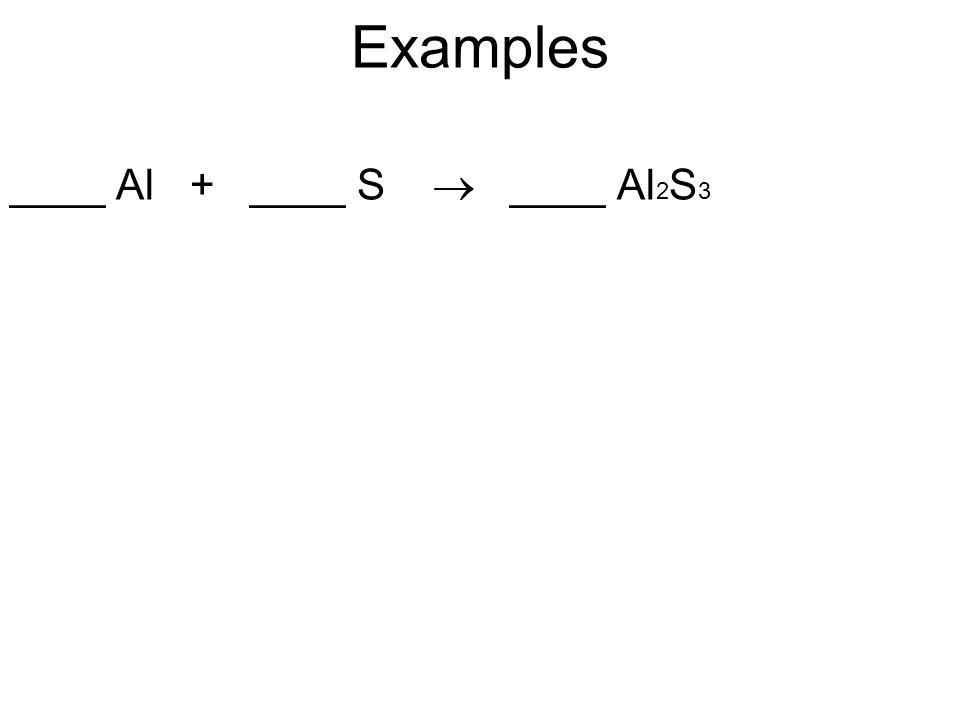Examples ____ Al + ____ S  ____ Al2S3