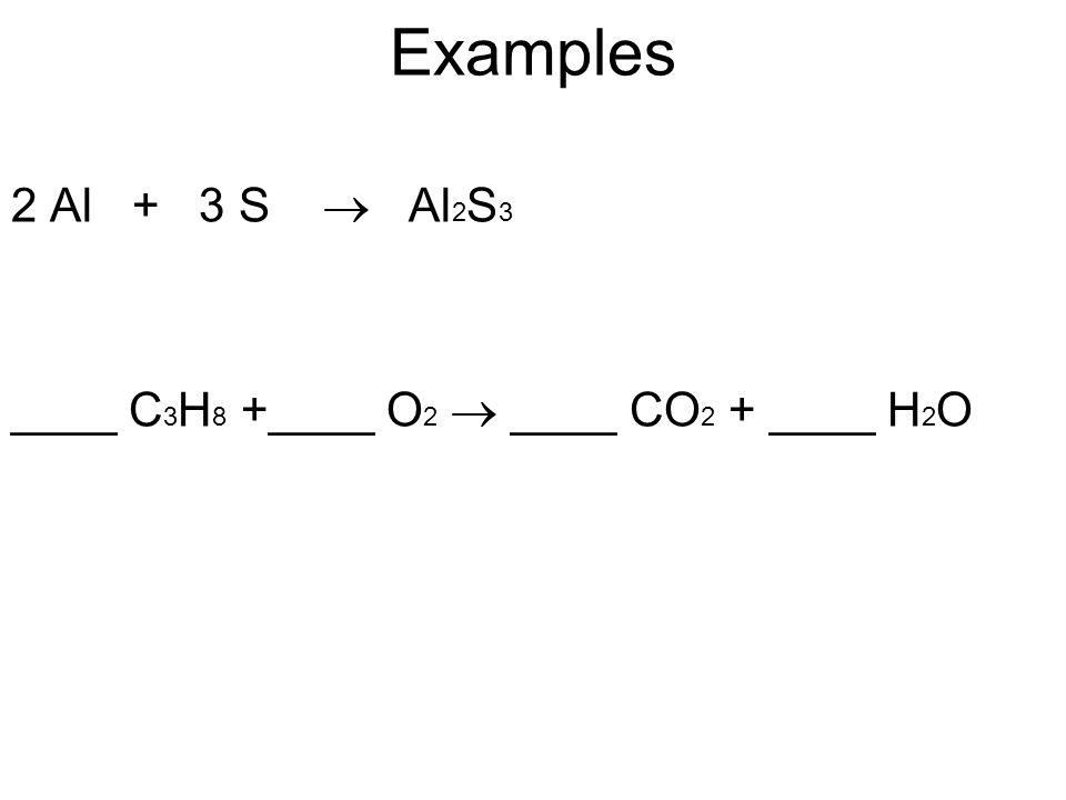 Examples 2 Al + 3 S  Al2S3 ____ C3H8 +____ O2  ____ CO2 + ____ H2O