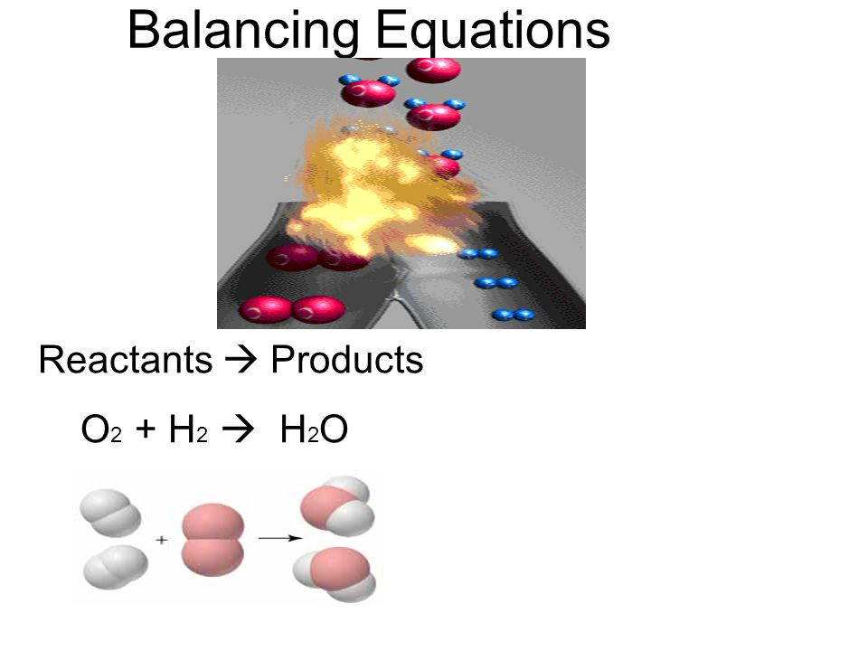Balancing Equations Reactants  Products O2 + H2  H2O