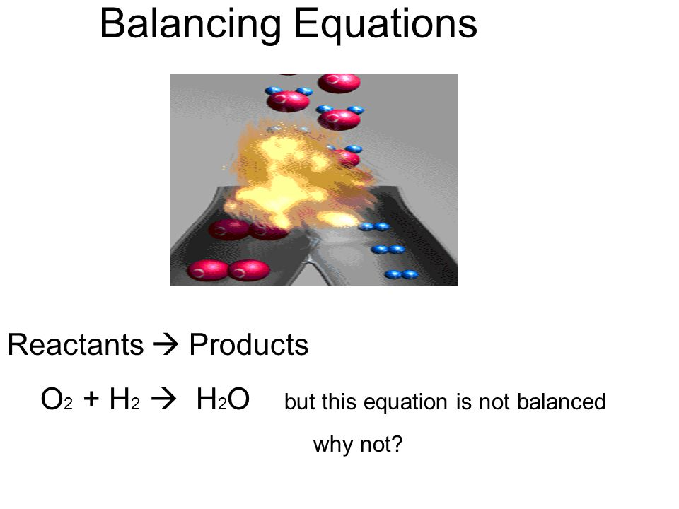 Balancing Equations Reactants  Products
