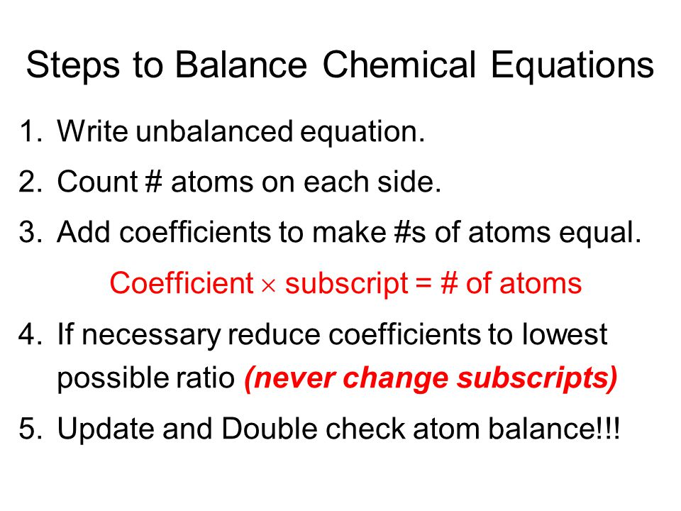 Steps to Balance Chemical Equations