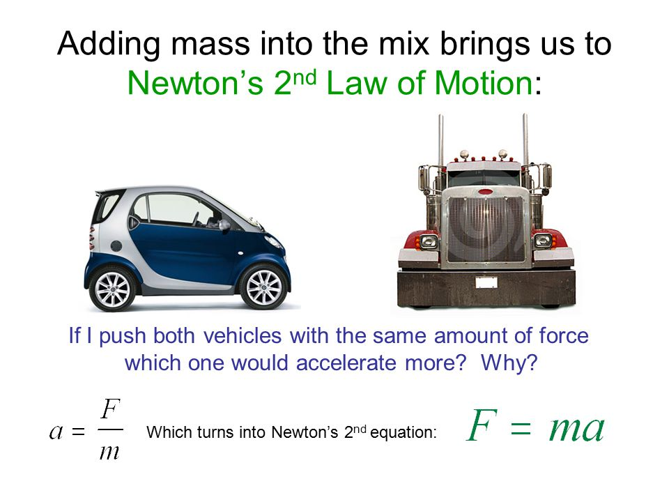 Adding mass into the mix brings us to Newton's 2nd Law of Motion: