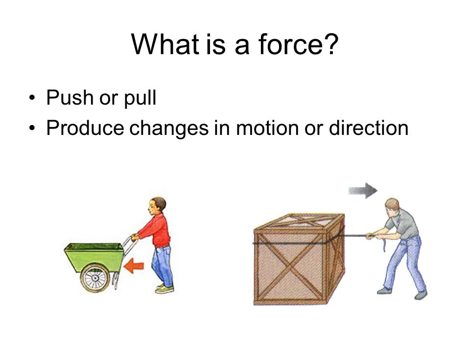 What is a force Push or pull Produce changes in motion or direction