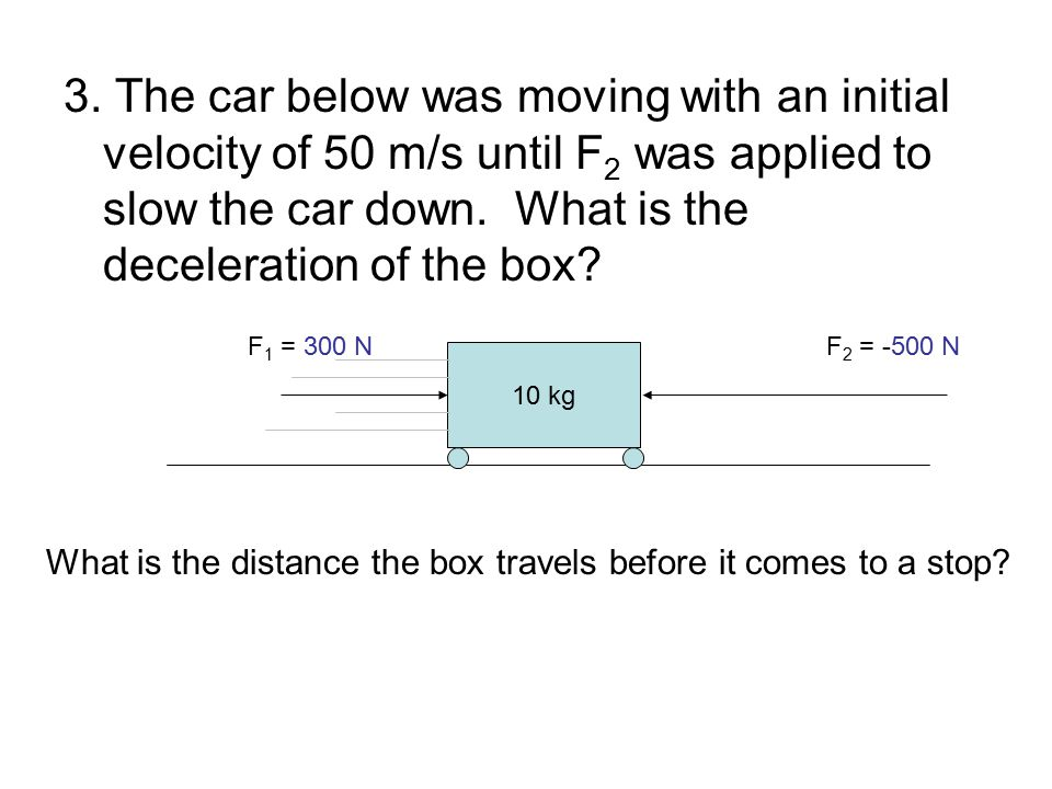 3. The car below was moving with an initial velocity of 50 m/s until F2 was applied to slow the car down. What is the deceleration of the box