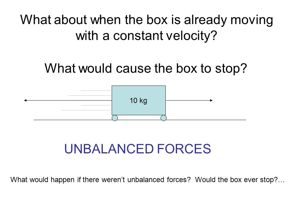 What about when the box is already moving with a constant velocity
