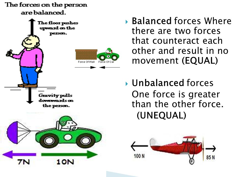 Balanced forces Where there are two forces that counteract each other and result in no movement (EQUAL)