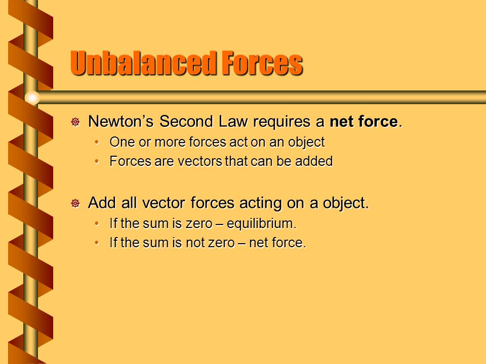 Unbalanced Forces Newton's Second Law requires a net force.