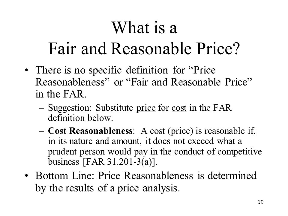 What is a Fair and Reasonable Price
