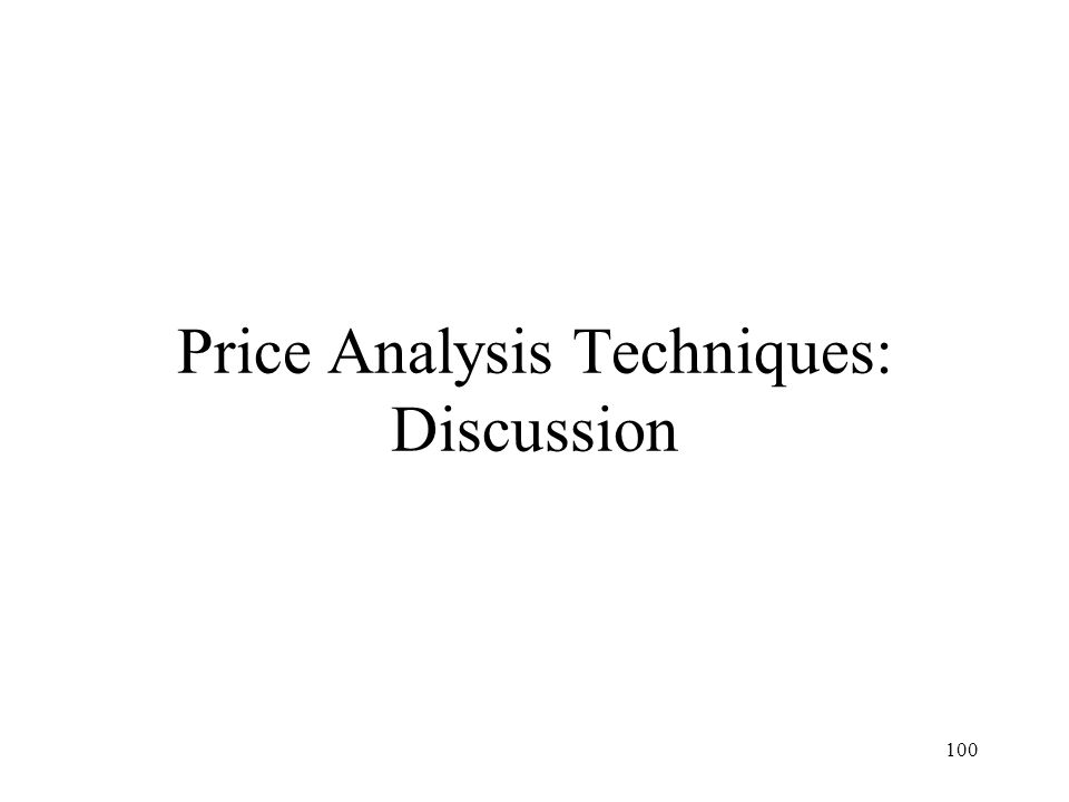 Price Analysis Techniques: Discussion