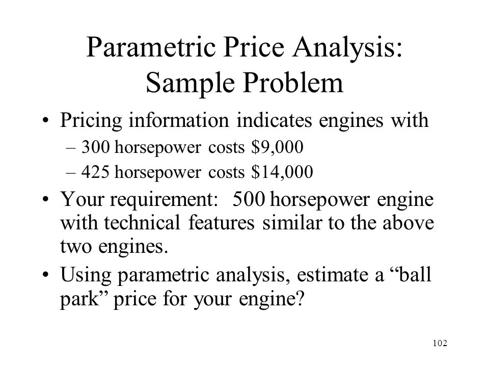 Parametric Price Analysis: Sample Problem