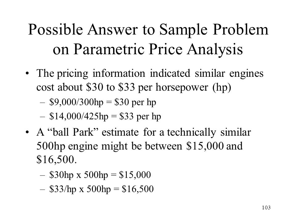 Possible Answer to Sample Problem on Parametric Price Analysis