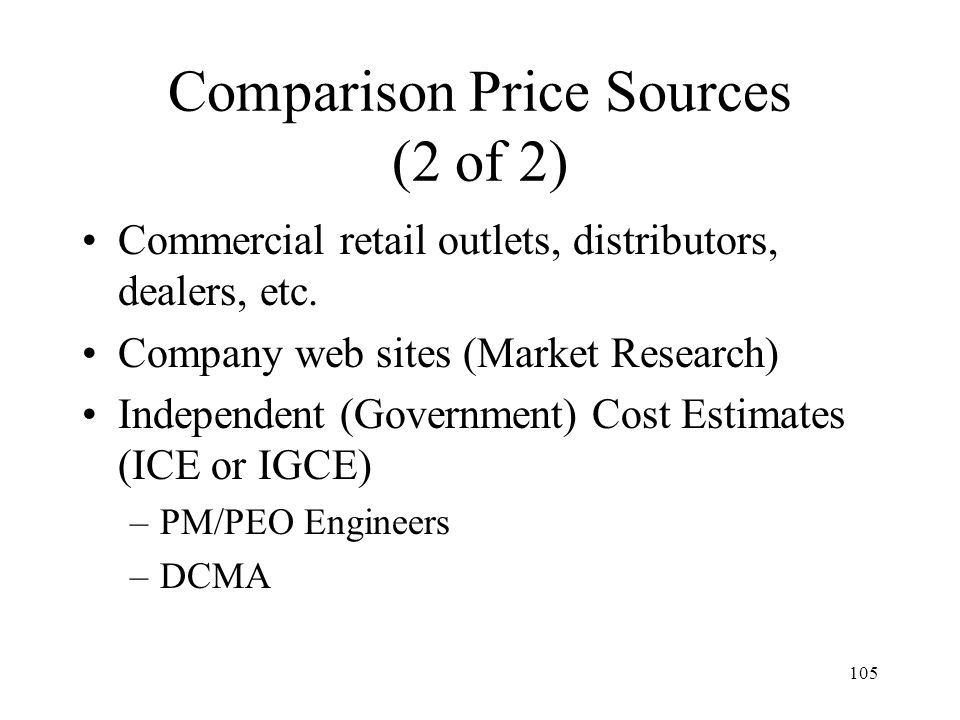 Comparison Price Sources (2 of 2)