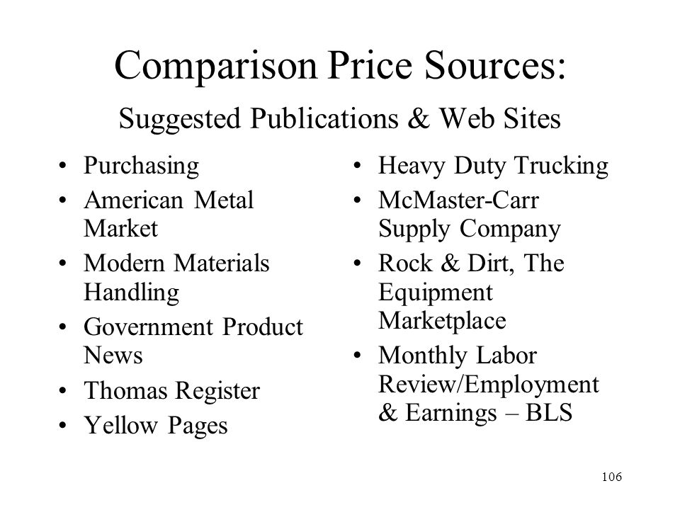 Comparison Price Sources: Suggested Publications & Web Sites