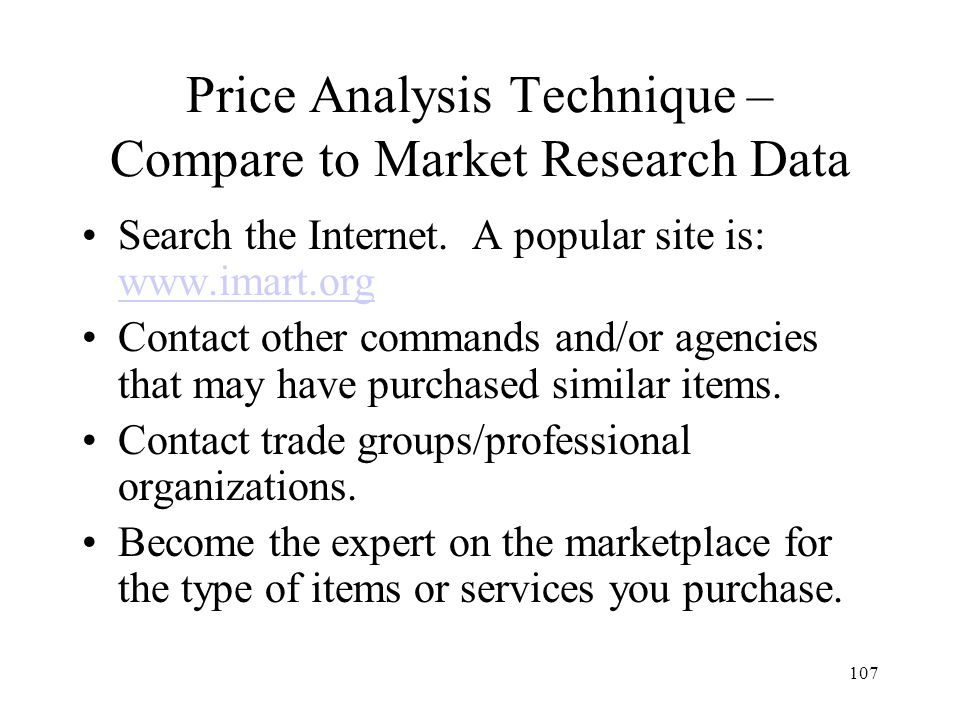 Price Analysis Technique – Compare to Market Research Data