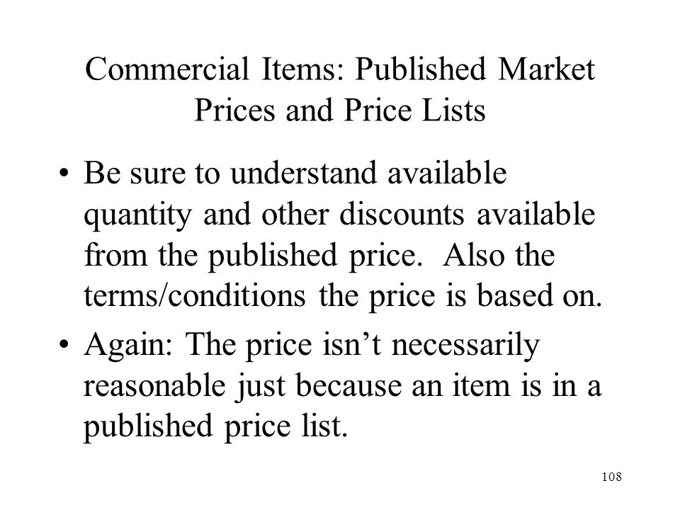 Commercial Items: Published Market Prices and Price Lists