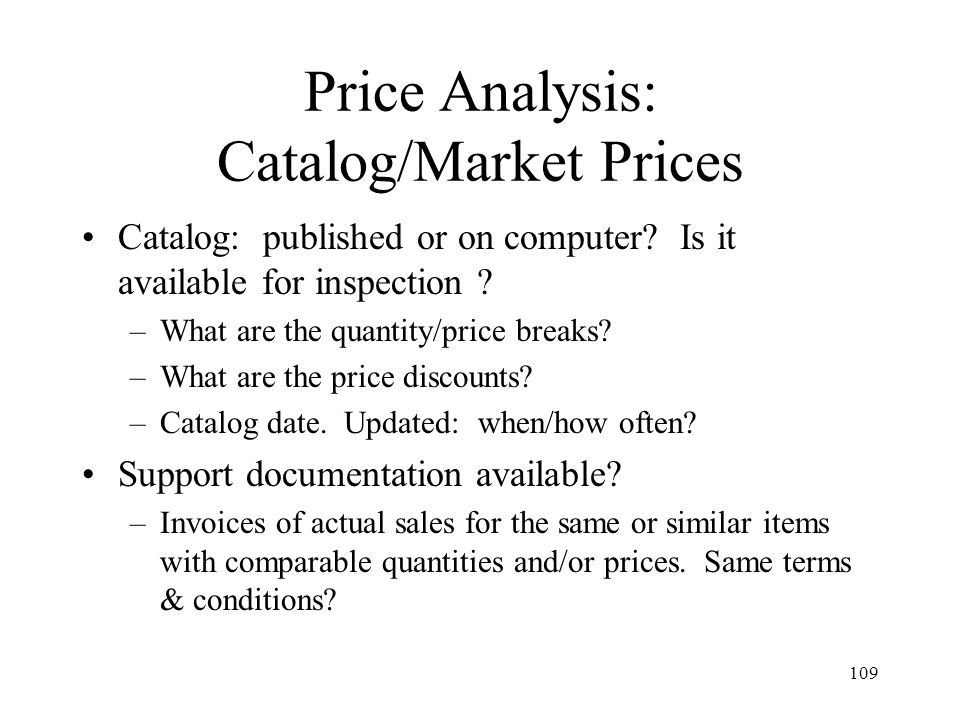 Price Analysis: Catalog/Market Prices