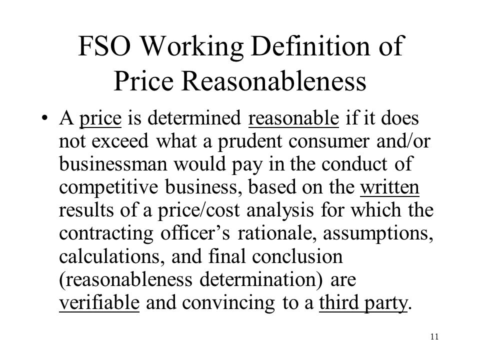 FSO Working Definition of Price Reasonableness