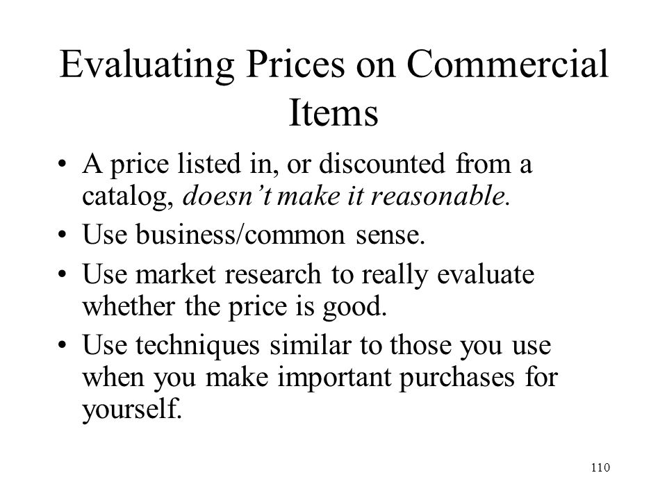 Evaluating Prices on Commercial Items