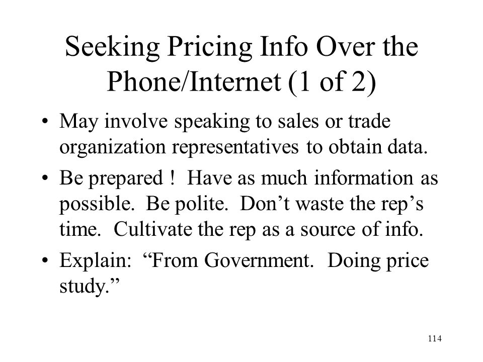 Seeking Pricing Info Over the Phone/Internet (1 of 2)