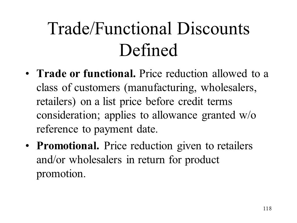 Trade/Functional Discounts Defined