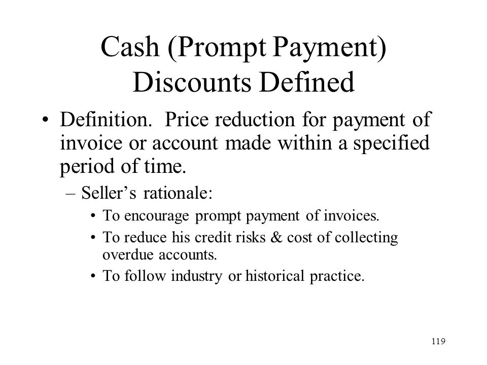 Cash (Prompt Payment) Discounts Defined