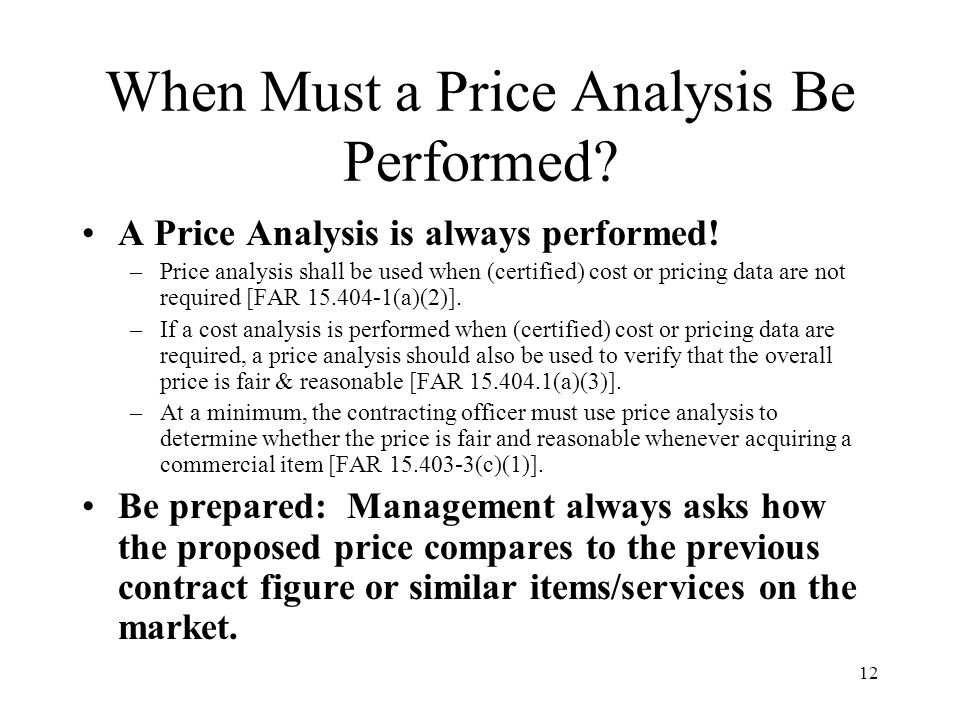 When Must a Price Analysis Be Performed
