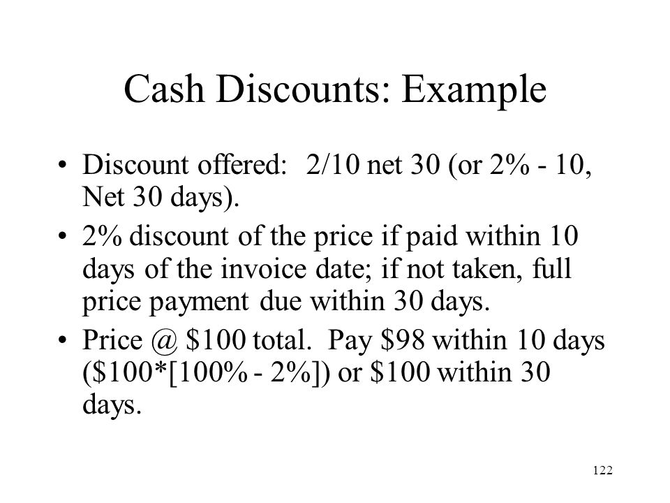Cash Discounts: Example