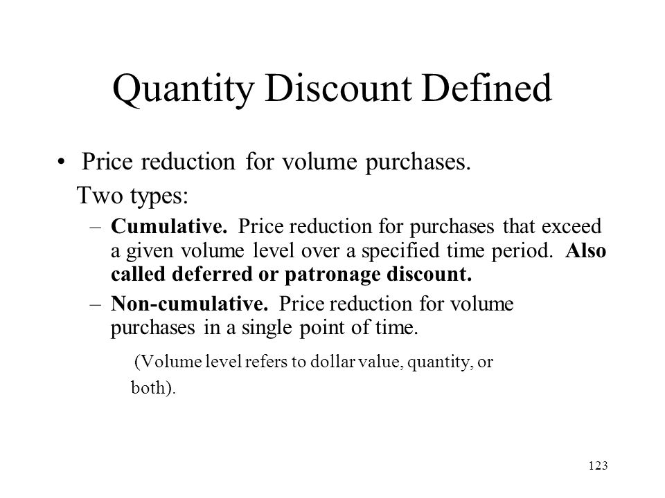 Quantity Discount Defined