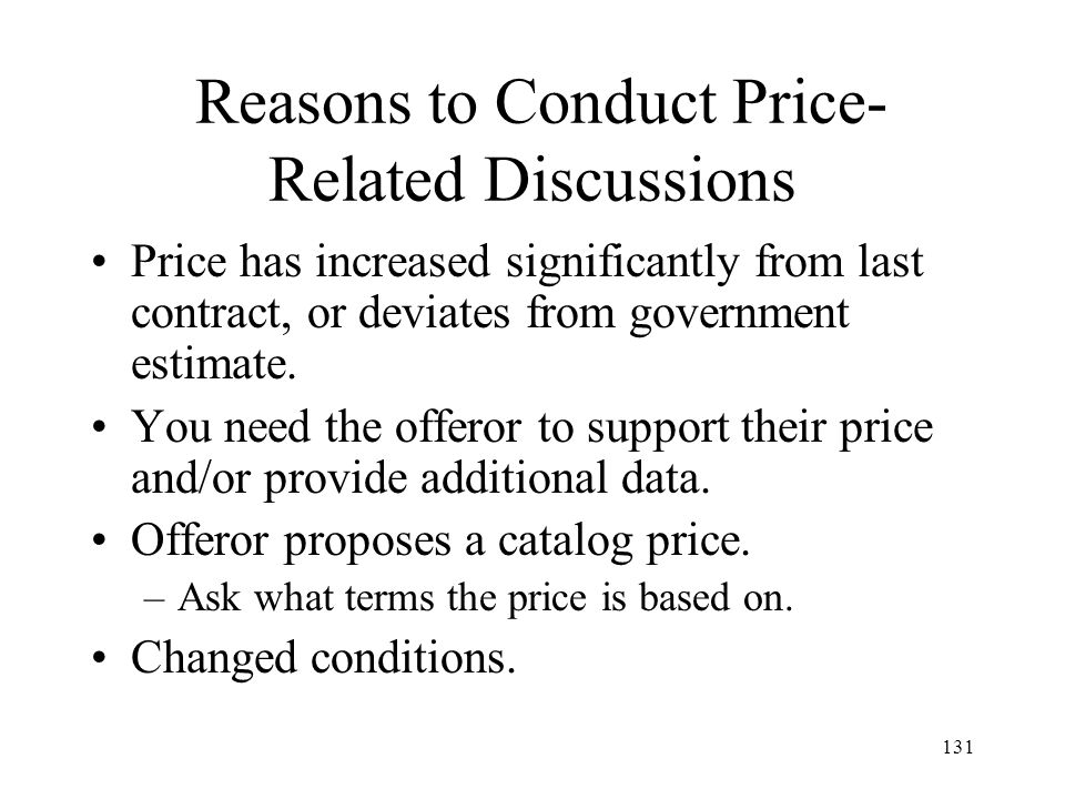 Reasons to Conduct Price-Related Discussions