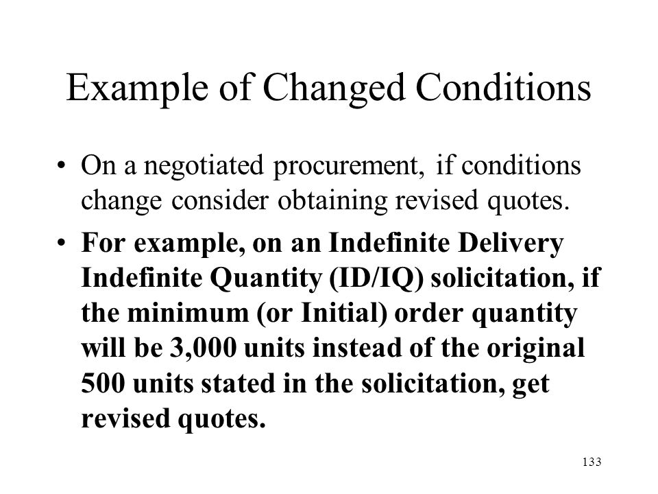 Example of Changed Conditions