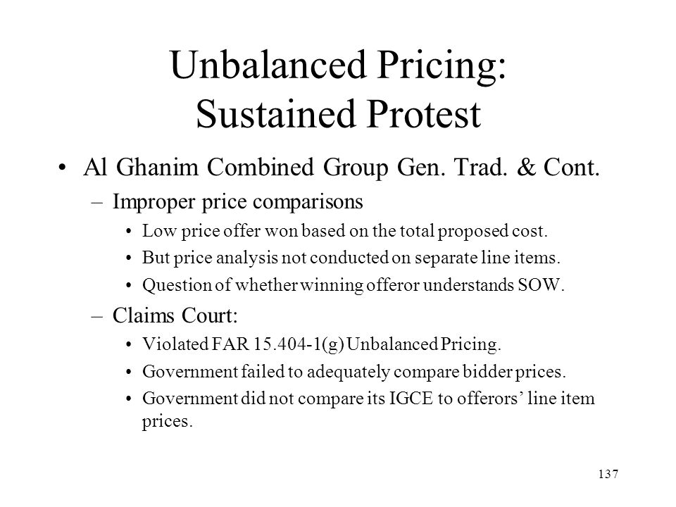 Unbalanced Pricing: Sustained Protest