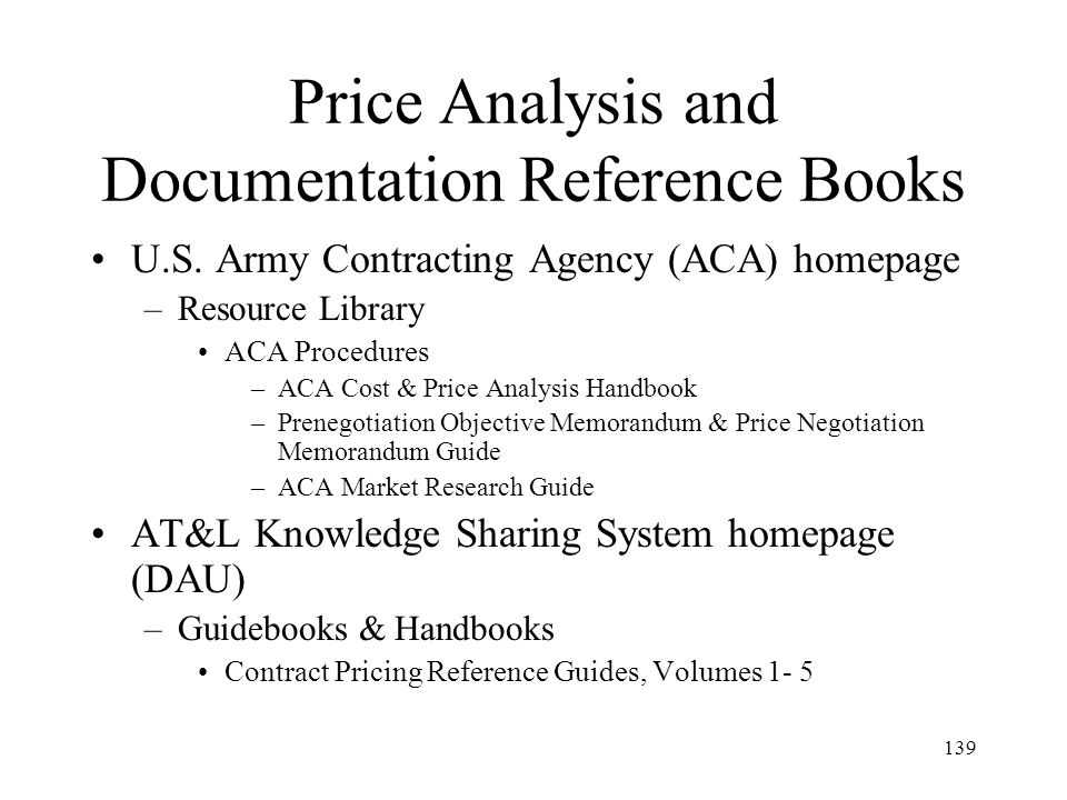 Price Analysis and Documentation Reference Books