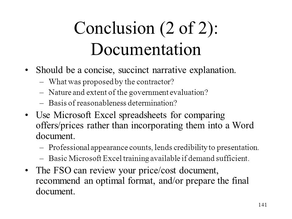 Conclusion (2 of 2): Documentation