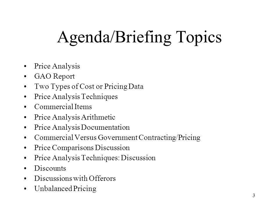 Agenda/Briefing Topics