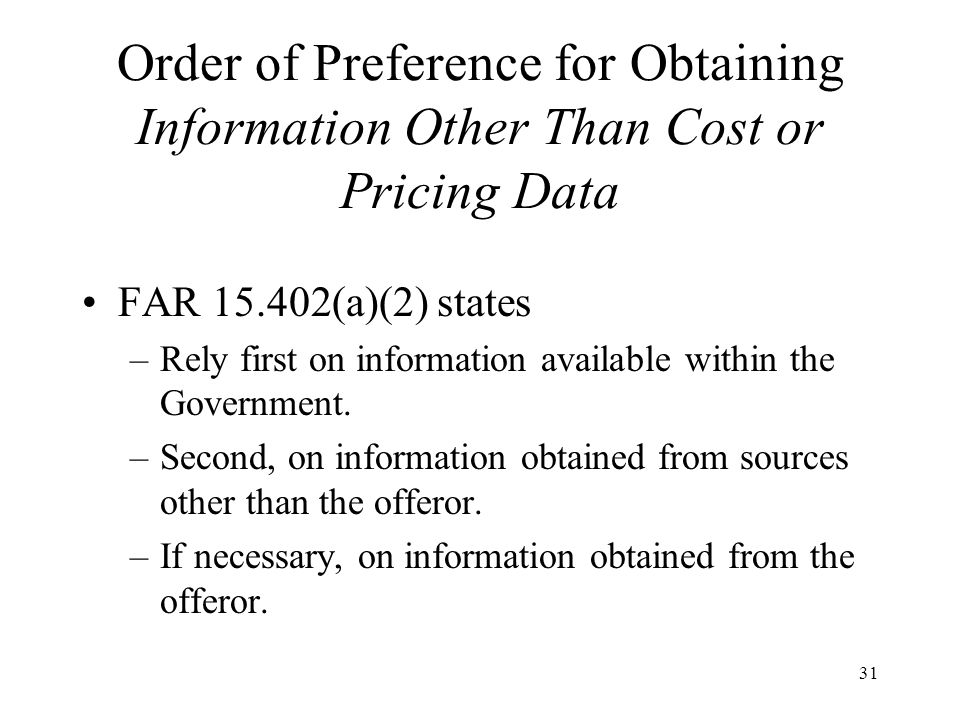 Order of Preference for Obtaining Information Other Than Cost or Pricing Data