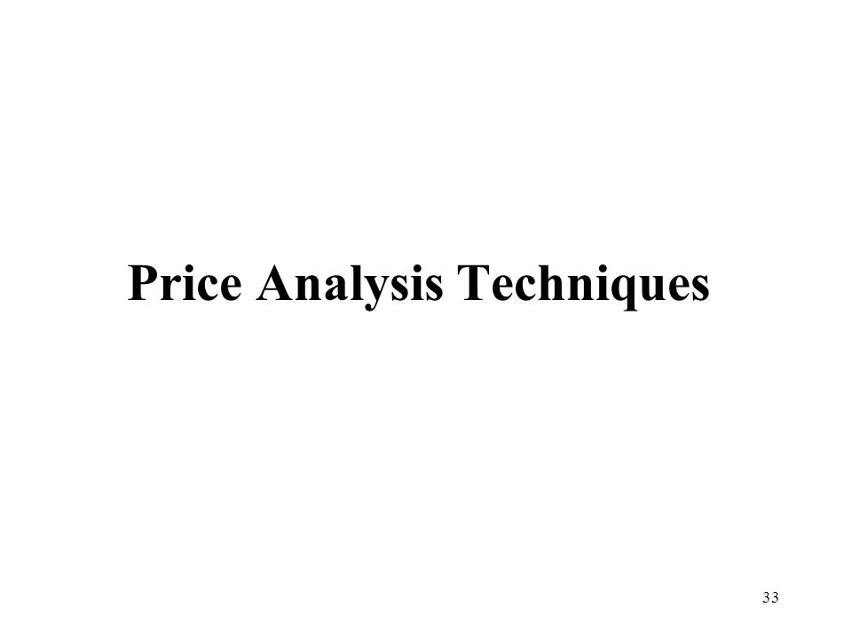 Price Analysis Techniques
