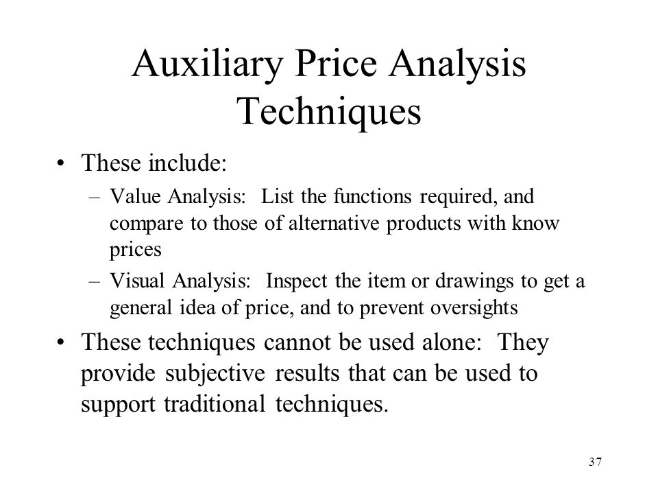 Auxiliary Price Analysis Techniques