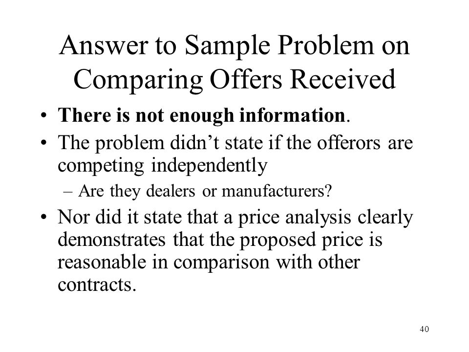 Answer to Sample Problem on Comparing Offers Received