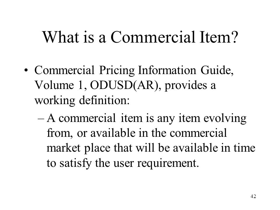What is a Commercial Item