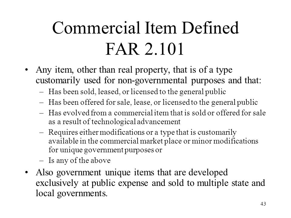 Commercial Item Defined FAR 2.101