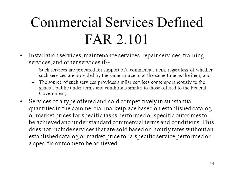 Commercial Services Defined FAR 2.101