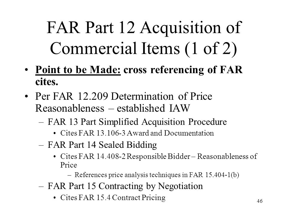 FAR Part 12 Acquisition of Commercial Items (1 of 2)