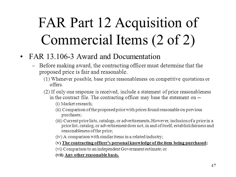FAR Part 12 Acquisition of Commercial Items (2 of 2)