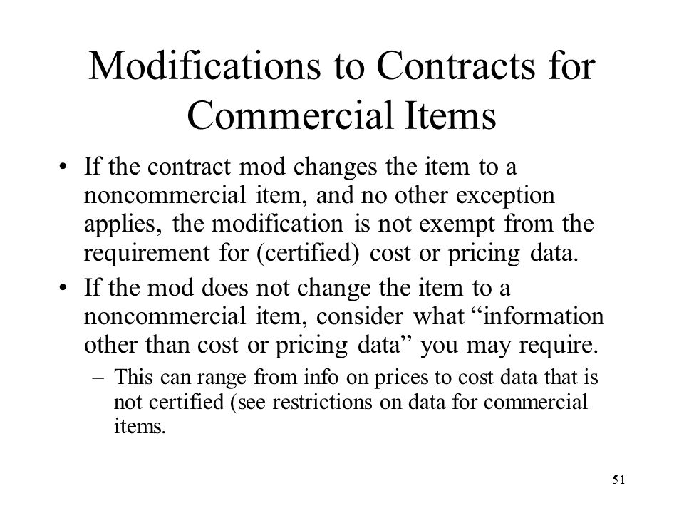 Modifications to Contracts for Commercial Items