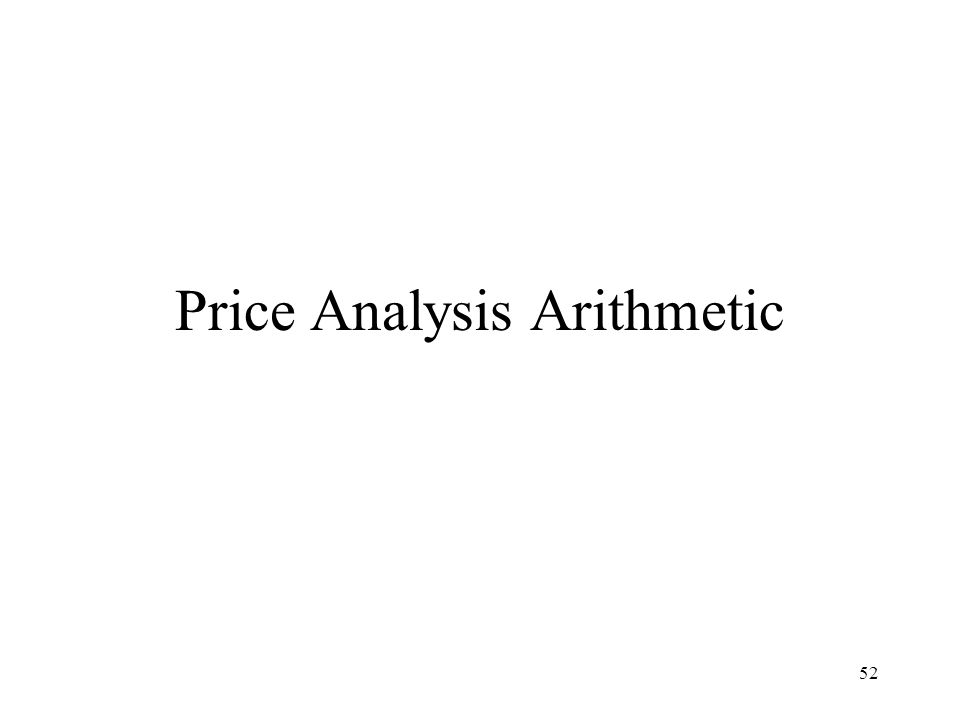 Price Analysis Arithmetic