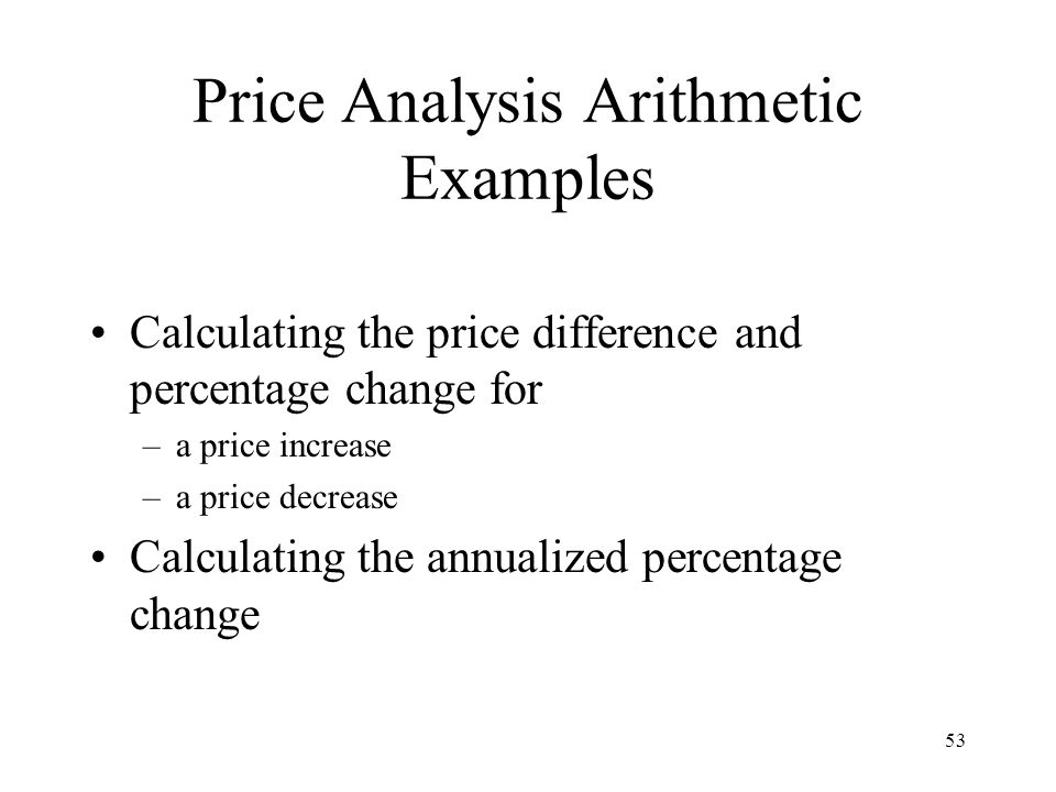 Price Analysis Arithmetic Examples