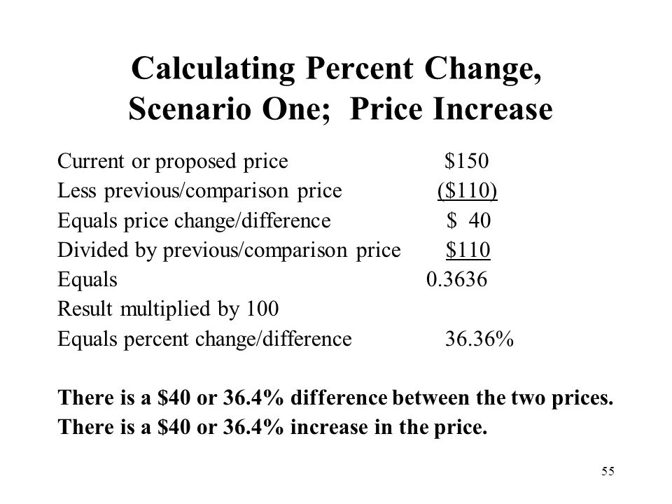 Calculating Percent Change, Scenario One; Price Increase